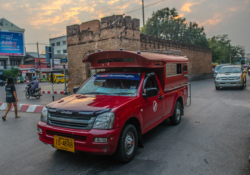 Red Roddaeng Truck used for transporting people in Chiang Mai